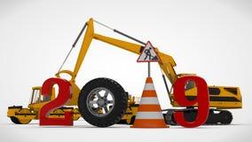 år för datum 2019 för illustration 3D nytt, bilden av en trafikkotte och ett stopptecken, för kalendern tolkning 3D av vägmaskine stock illustrationer