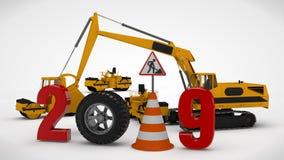 år för datum 2019 för illustration 3D nytt, bilden av en trafikkotte och ett stopptecken, för kalendern tolkning 3D av vägmaskine royaltyfri illustrationer