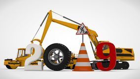 år för datum 2019 för illustration 3D nytt, bilden av en trafikkotte och ett stopptecken, för kalendern tolkning 3D av vägmaskine vektor illustrationer