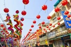 år för gata för kinesisk lampa för beröm nytt Fotografering för Bildbyråer