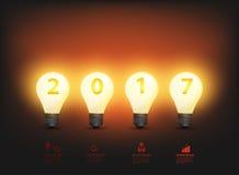 År 2017 för idéer för ljus kula för vektor nytt royaltyfri illustrationer