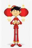 år för kinesisk hälsning för pojkekort nytt Royaltyfri Bild