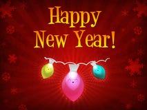 år för lyckliga lampor för jul nytt vektor illustrationer