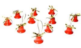 År för rött klirr för garnering för Xmas-julklockor nytt arkivfoton