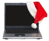 år för skärm för blank lockbärbar dator nytt s santa Royaltyfri Foto