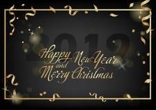 år för vektor för korthälsningsillustration nytt Julferiebaner med konfettier och att blänka 2019 Mörk skenbakgrund stock illustrationer