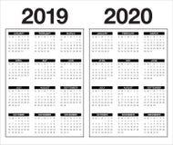 År 2019 för vektordesign för 2020 kalender mall vektor illustrationer