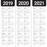År 2019 2020 för vektordesign för 2021 kalender mall vektor illustrationer