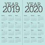 År 2019 för vektordesign för 2020 kalender mall royaltyfri illustrationer
