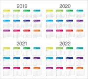 År 2019 2020 2021 för vektordesign för 2022 kalender mall royaltyfri illustrationer