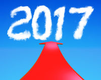 2017 år form fördunklar med den röda tolkningen för pilen 3D Royaltyfria Bilder