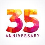 35 år gammal fira brännhet logo stock illustrationer