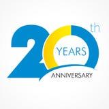 20 år gammal fira klassisk logo Arkivbilder