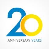 20 år gammal fira klassisk logo Arkivfoton