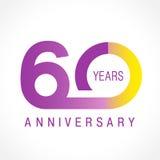 60 år gammal fira klassisk logo stock illustrationer
