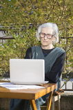 90 år gammal kvinna som har en video appell på en anteckningsbok Royaltyfri Foto