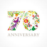 70 år gammal lyxig fira folk logo Royaltyfria Foton