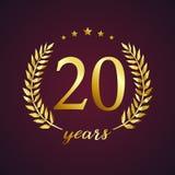 20 år gammal lyxig logotyp vektor illustrationer