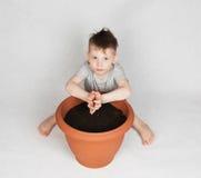 4 år gammal pojke som planterar frö Arkivfoton