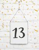 13 år gammalt kort för födelsedagparti med nummer tretton med golde Royaltyfri Fotografi