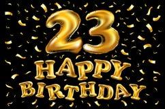 23 år guld- årsdaglogoberöm med cirkeln, bandet, fyrverkerit och ballongen stock illustrationer