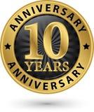 10 år guld- etikett för årsdag, vektorillustration Royaltyfria Bilder
