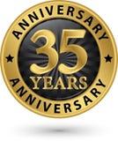35 år guld- etikett för årsdag, vektorillustration Royaltyfri Foto
