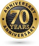 70 år guld- etikett för årsdag, vektorillustration Royaltyfri Fotografi
