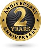 2 år guld- etikett för årsdag, vektorillustration Royaltyfria Bilder