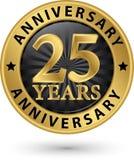 25 år guld- etikett för årsdag, vektorillustration Arkivfoton