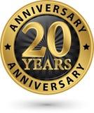 20 år guld- etikett för årsdag, vektorillustration Royaltyfri Fotografi