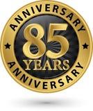 85 år guld- etikett för årsdag, vektorillustration Royaltyfri Fotografi
