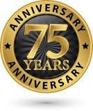 75 år guld- etikett för årsdag, vektorillustration Royaltyfria Bilder