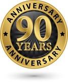 90 år guld- etikett för årsdag, vektorillustration Arkivbild