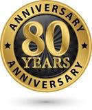 80 år guld- etikett för årsdag, vektorillustration Arkivbilder