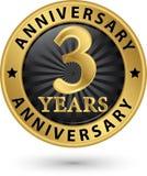 3 år guld- etikett för årsdag, vektorillustration Royaltyfria Bilder