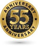 55 år guld- etikett för årsdag, vektorillustration Arkivfoto
