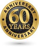 60 år guld- etikett för årsdag, vektorillustration Arkivbilder