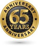65 år guld- etikett för årsdag, vektorillustration Royaltyfri Foto