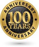 100 år guld- etikett för årsdag, vektorillustration Arkivfoto