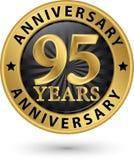 95 år guld- etikett för årsdag, vektorillustration Royaltyfria Foton