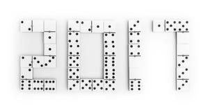 År 2017 i dominobrickastycken över en vit bakgrund Royaltyfria Bilder