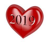 År 2019 i röd hjärta Stock Illustrationer