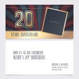 20 år illustration för årsdaginbjudanvektor planlägg elementdiagrammet royaltyfri foto