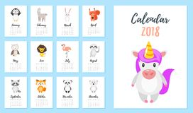 2018 år kalender stock illustrationer
