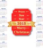 2015 år kalender Fotografering för Bildbyråer