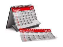 2019 år Kalender för Januari Isolerad illustration 3d vektor illustrationer
