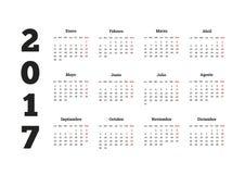 2017 år kalender i spanjor som isoleras på vit Royaltyfria Bilder