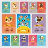 2018 år kalender med stiliserad hundkapplöpning vektor illustrationer