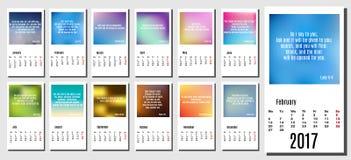 2017 år kalender med subtila bakgrunder, bibelcitationstecken och vers Royaltyfri Fotografi